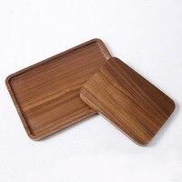 Wooden Plate Spot Japanese Black Walnut Wood Tea Tray Wooden Solid Flat Plate Scroll Serving Tray Square Black Walnut Hotel