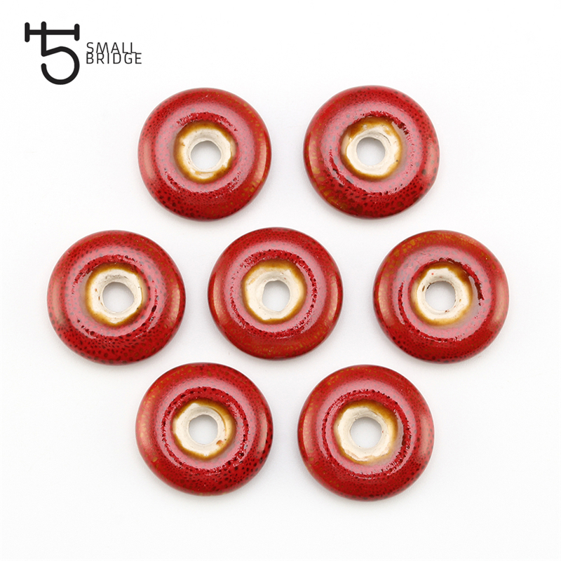 21mm Flower Glaze Flat Round Ceramic Beads For Jewelry Making Sweater Necklace DIY Material Loose Big Hole Charms Pendants Bead in Beads from Jewelry Accessories