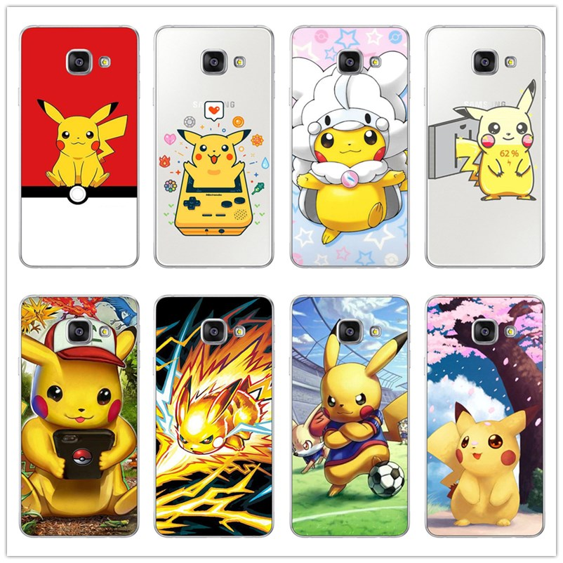 Pokemons Characters Black Case Cover Shell Coque for Samsung Galaxy J1 J3 J5 J7 A3 A5 A7 2015 2016 2017 Mobile phone case image