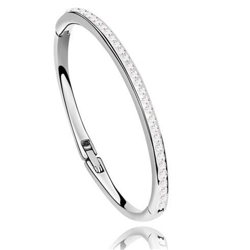 Austrian Crystal Simple Bracelets Bangles Women Bride Bangle Wedding