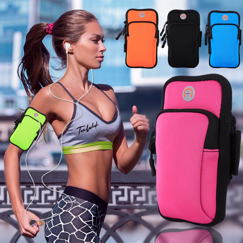 Sport Armband Case Workout Cover Zippered Fitness Running Arm Band Bag Pouch Jogging For Mobile 7Plus Smart Phone Bag(4-6inches)