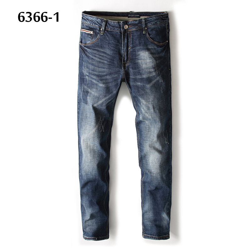 Regular Fit Waterwashed Blue Jeans Men High Quality Cotton Brand Balplein Simple Designer Casual Men`s Ripped Jeans Pants 6366-1 men s cowboy jeans fashion blue jeans pant men plus sizes regular slim fit denim jean pants male high quality brand jeans