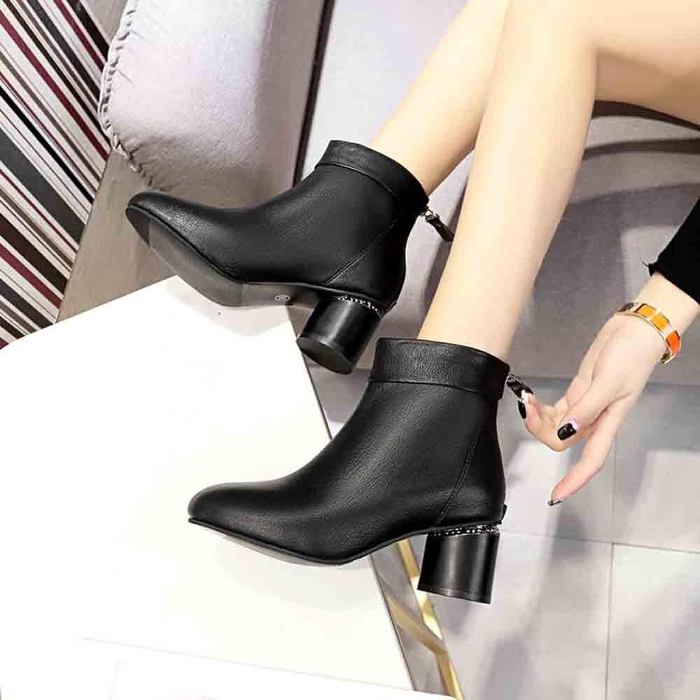 Moda 2018 Tobillo Invierno Nueva Calzado Cuero Señora Al Las Suave De Zapatos Mujeres Negro Aire Señoras Talones Xtn Mediados Libre Botas 5rrw0qzA