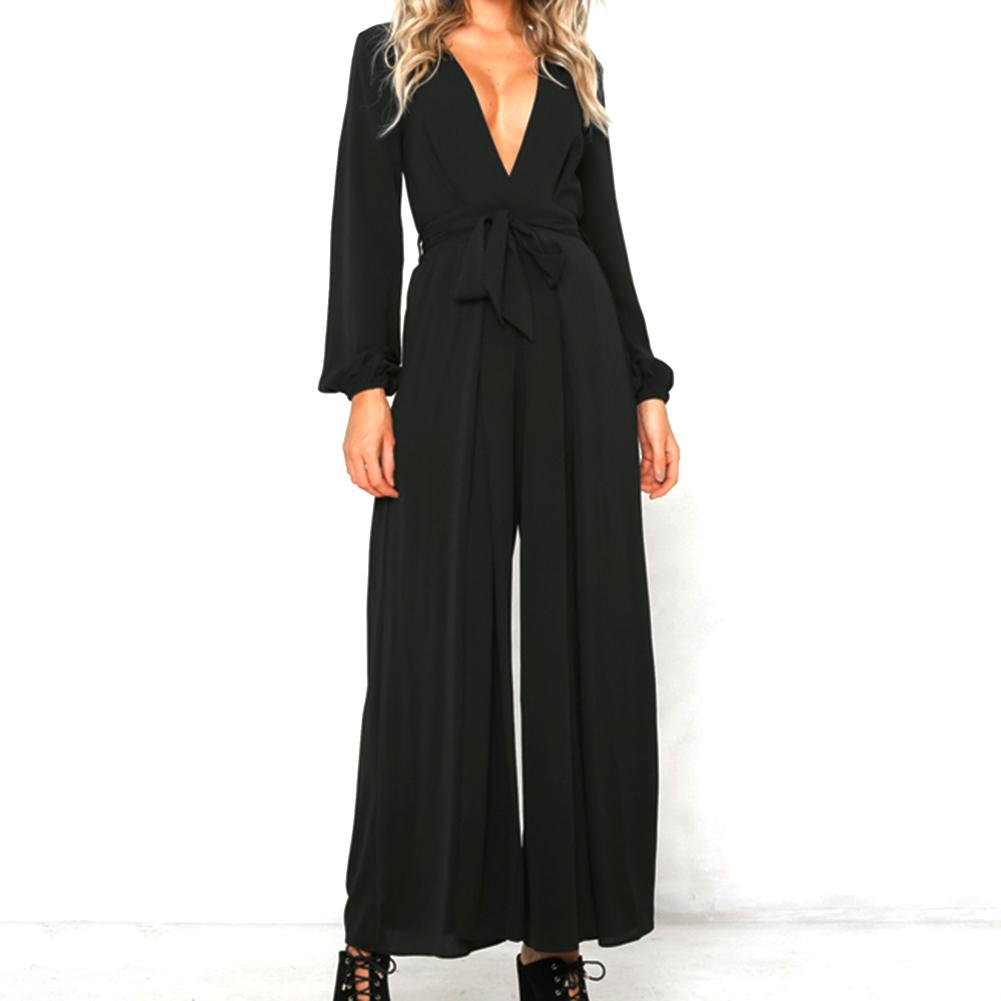 2018 New Sexy V Neck Wide Leg Pants Elegant Jumpsuits Romper Black Long Sleeve Split Tunic Overalls For Women Combinaison Femme