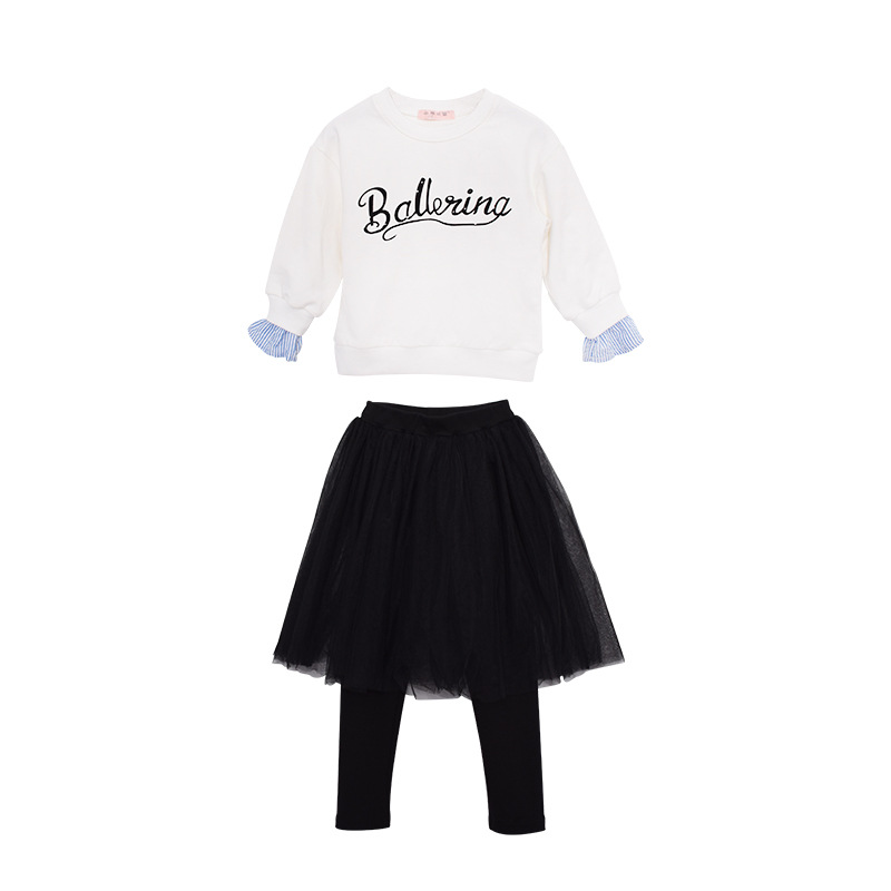 Girls Suits Autumn Spring New Letter Print T Shirt+ Skirt Long-sleeved T-shirt Mesh Tutu Two-piece Girls Clothes Set CA160 men allover letter print curved hem shirt