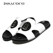 ISSACOCO Genuine Leather Woens Slippers Women Flip Flops High Quality Beach Sandals Non-slip Home Zapatillas
