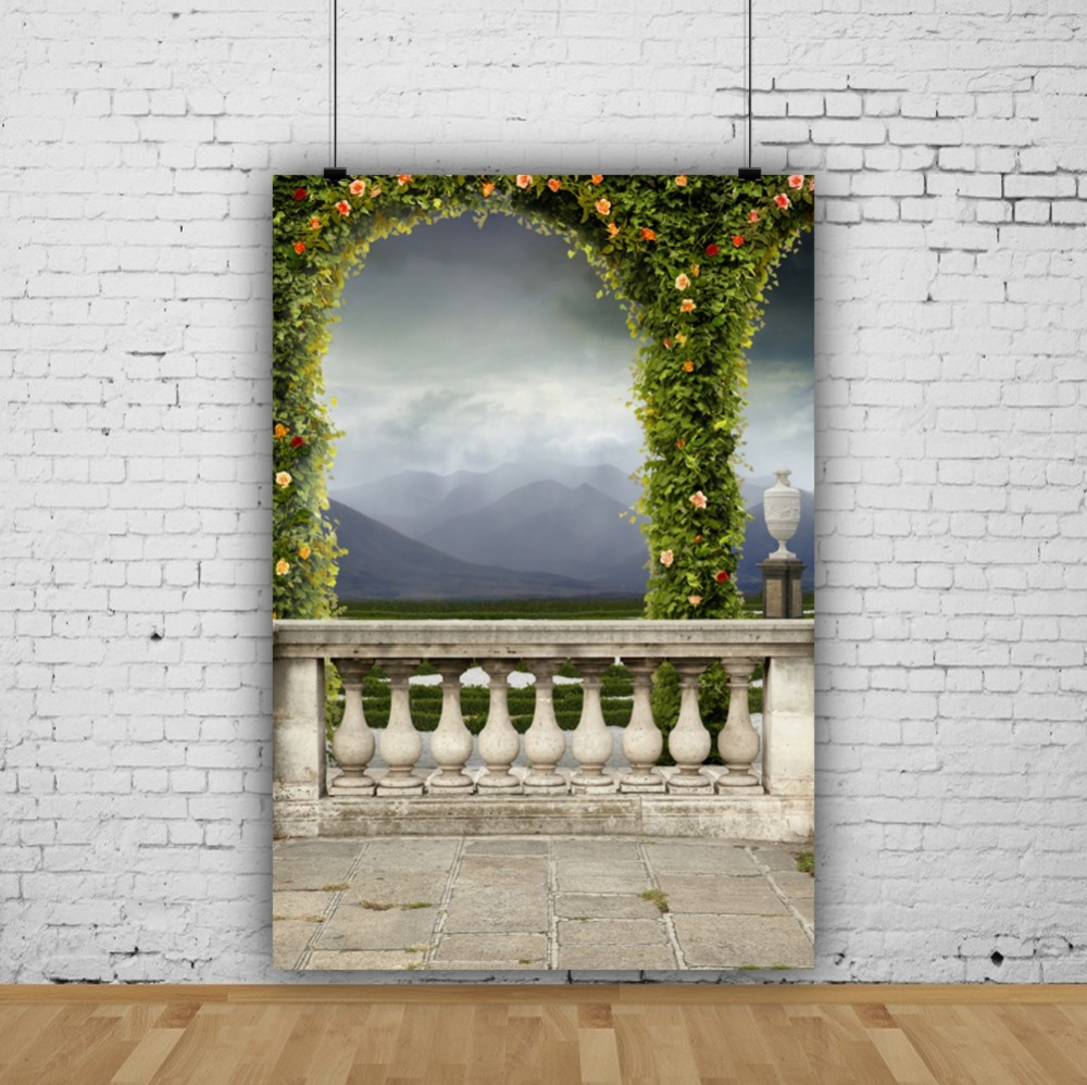 Laeacco Spring Flowers Arch Door Railing Platform Mountain Filed Scenic Photo Backdrops Photo Backgrounds Photocall Photo Studio in Background from Consumer Electronics