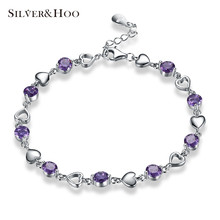 SILVERHOO Trendy Romantic Jewelry Heart Purple Round Cubic Zirconia Link Chain Bracelets for Women Bangles 925 Sterling Silver