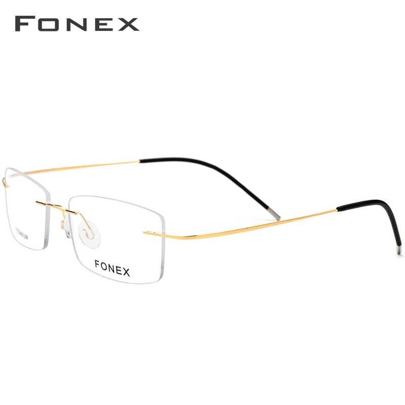 Sem aro Óculos De Titânio Quadro Homens Ultraleve Quadrados Prescrição Óculos Homem Luz Sem Moldura óculos de Miopia Armações de Óculos