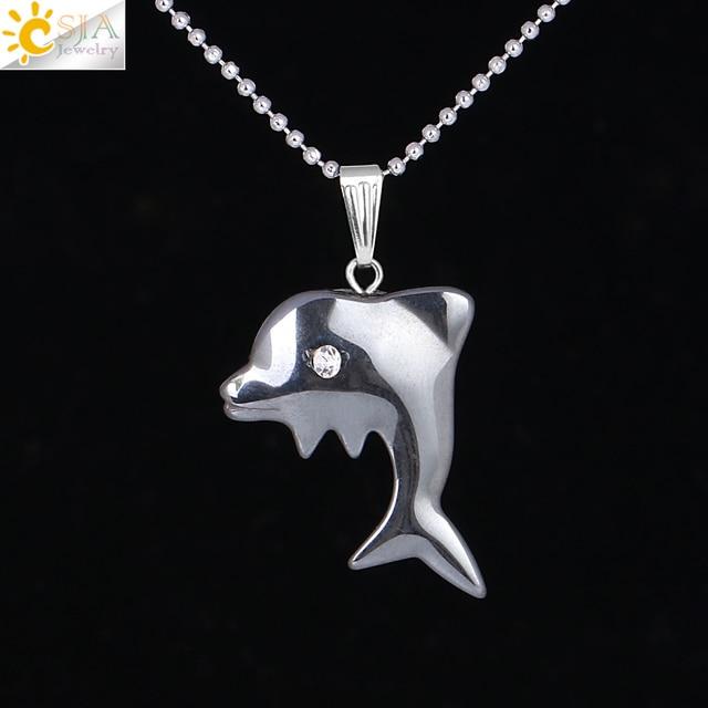 Ожерелье из натурального камня CSJA, ожерелье с кулоном из черного гематита и Дельфина, цепь из медной нити, ожерелье с подвеской в виде животных, F317