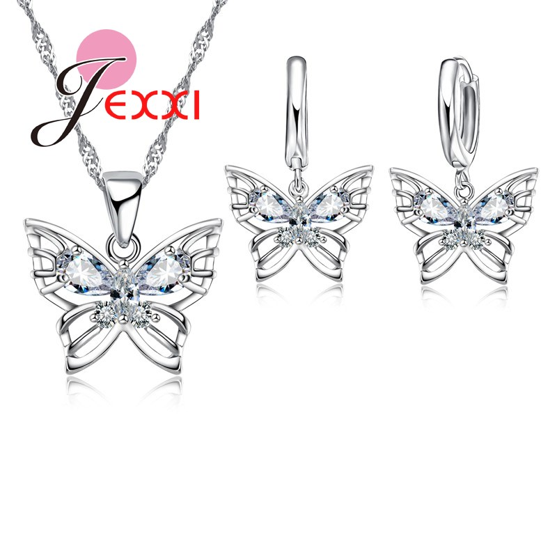 Romantic and Beautiful Butterfly Jewelry Sets For Women 925 Serling Silver Shinning Crystals Necklace Pendants Earrings