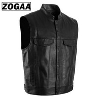 ZOGGA 2019 Men Vest Black Biker Motorcycle Hip Hop Waistcoat Male Faux Leather Punk Solid Black Spring Sleeveless Leather Vest