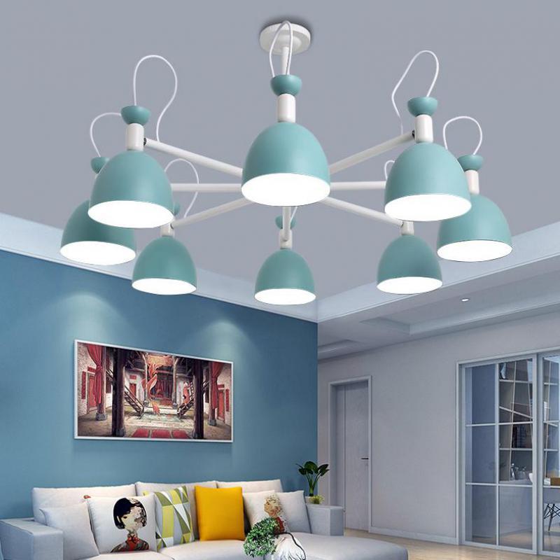 Apartamento de hierro azul lámpara techo accesorios para adolescentes dormitorio chico es iluminación escaparate juegos lámpara sombra mini E27 lustres - 2