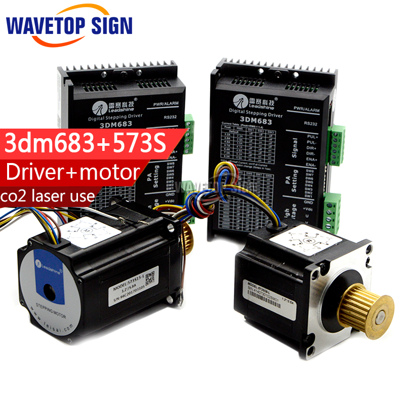stepper motor 573s09-L 1pcs +573s15-L 1pcs+ leadshine stepper  driver 3DM683 2PCS use for co2 laser machine nema24 3nm 425oz in integrated closed loop stepper motor with driver 36vdc jmc ihss60 36 30