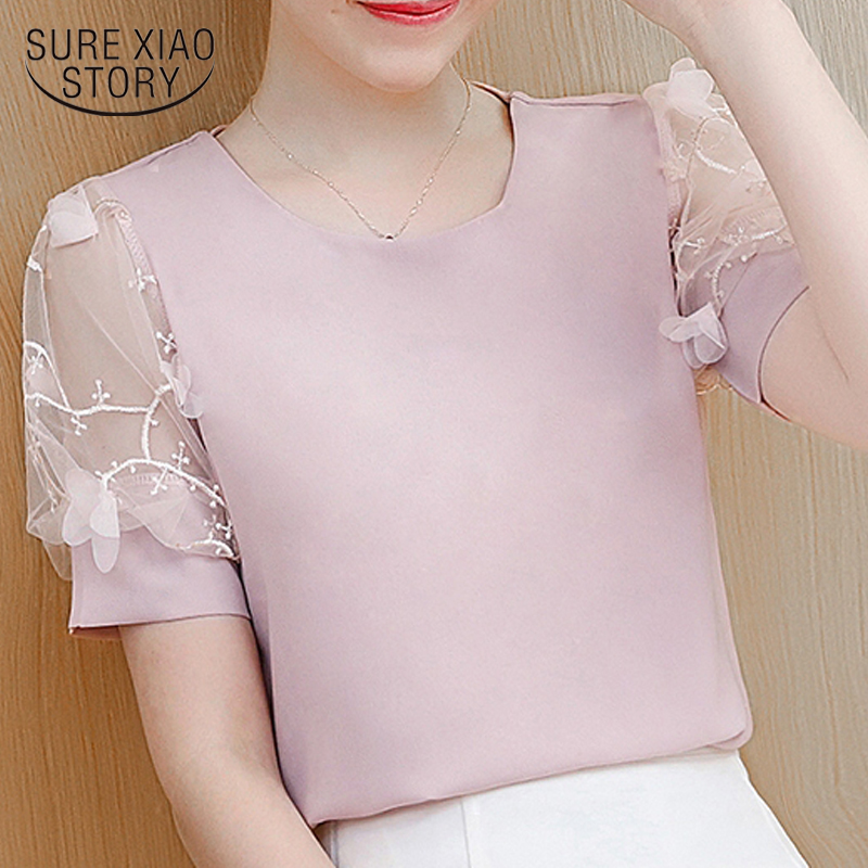 2019 new summer women tops chiffon   blouse     shirt   short lantern sleeved   blouse   women clothing fashion casual women   shirts   0480 40