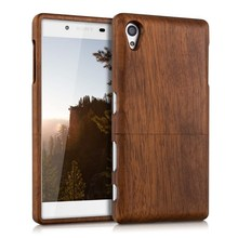 Luxury Walnut Two Parts Embossed Pattern Natural Wood Case, Fashion Real Wood Back Shockproof Cover Case for Sony Xperia Z3 Z5