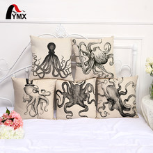 Black and White Sketch Sea Animal Seaweed Octopus Linen Pillow Cases Home Furnishings Pillowcase Cushion Cover Car Decor 45*45cm(China)