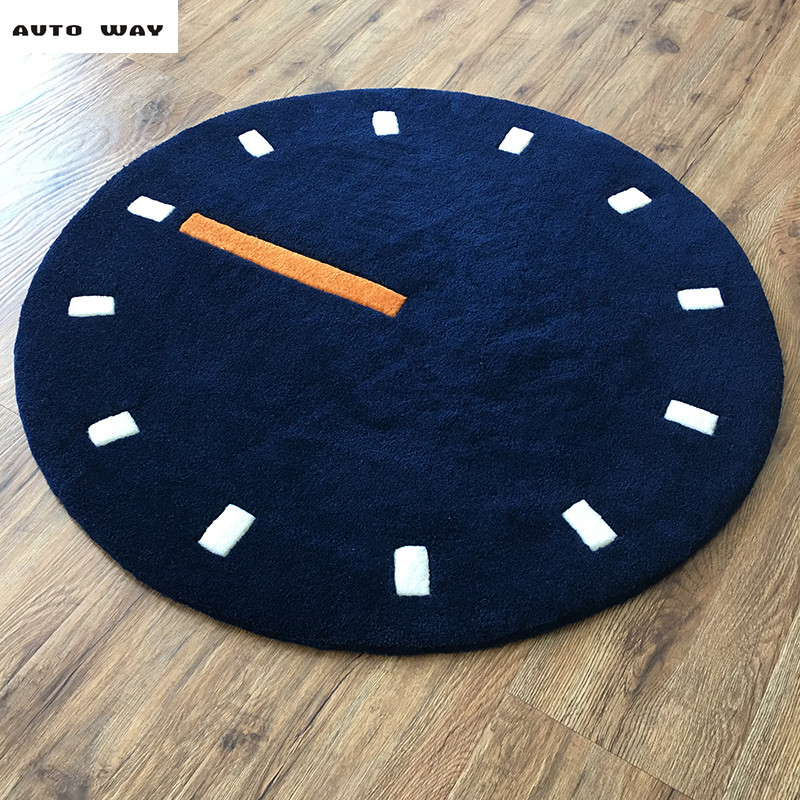 Nordic style Watch clock Living room round rug manual Acrylic material handmade thick carpet Bedroom bedside computer chair mat
