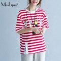 MissLymi Fit M-XL Plus Size Solta Top Feminino 2017 Novo Moda verão Ocasional de Manga Curta T-shirt Dos Desenhos Animados Impressão de Tarja Vermelha mulheres