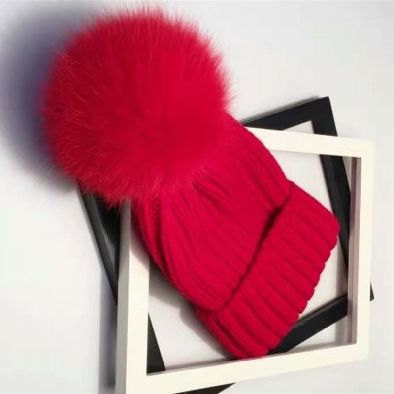 Fashion Knitted Cotton Beanies cap Mink and Fox Fur Ball Cap Winter Hat for Girl Thick