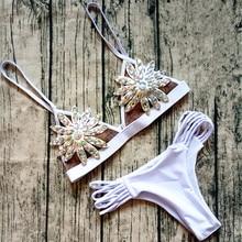 Lace Bikini Diamond Swimsuit Crystal Women Swimwear Nude Bikinis Brazilian Rhinestone Beachwear Push Up Bikini Lace Biquini
