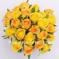 משלוח חינם, סגנון חדש 26 ראשים/חבורה צהובה וכתום מלאכותי משי ורדים פרח פוזי חתונת כלה זר פרחים 25 ס