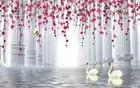 3D rideau nouveau romantique 3D rideau fond colonne romaine espace fleurs 3D salle de bains douche rideau fenêtre rideau chaîne - 2