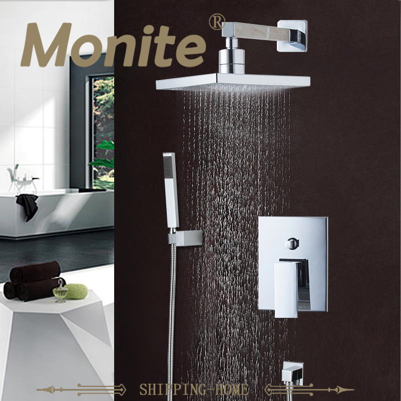 Best Price Wall Mounted Rain Shower Set Square Shower Head 8  Shower Set with Control Valve Shower Set Faucets wall mounted rain shower set luxury square shower head 8 shower set with hand shower and control valve