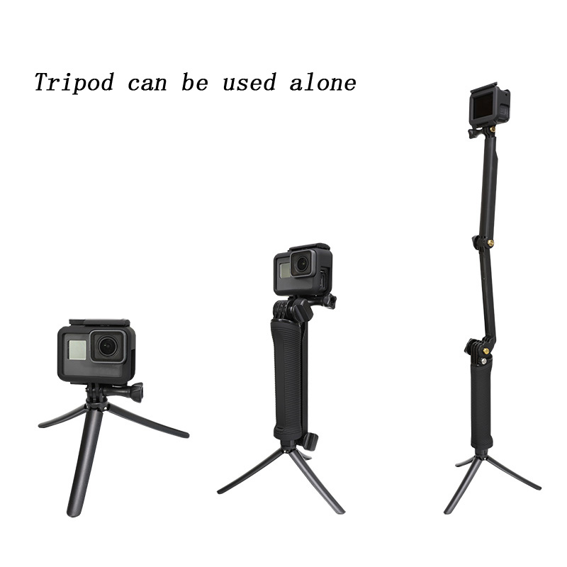 micros2u Floating Handle Foldable 3 Way Monopod Selfie Stick Compatible//Replacement for GoPro Hero Apeman DJI Osmo Victure /& Similar Action Cameras Crosstour