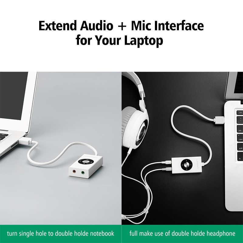 Ugreen External Sound Card HiFi 4 Models USB to Earphone Headphone 3 5mm  USB Adapter Audio Card for Laptop Computer Sound Card