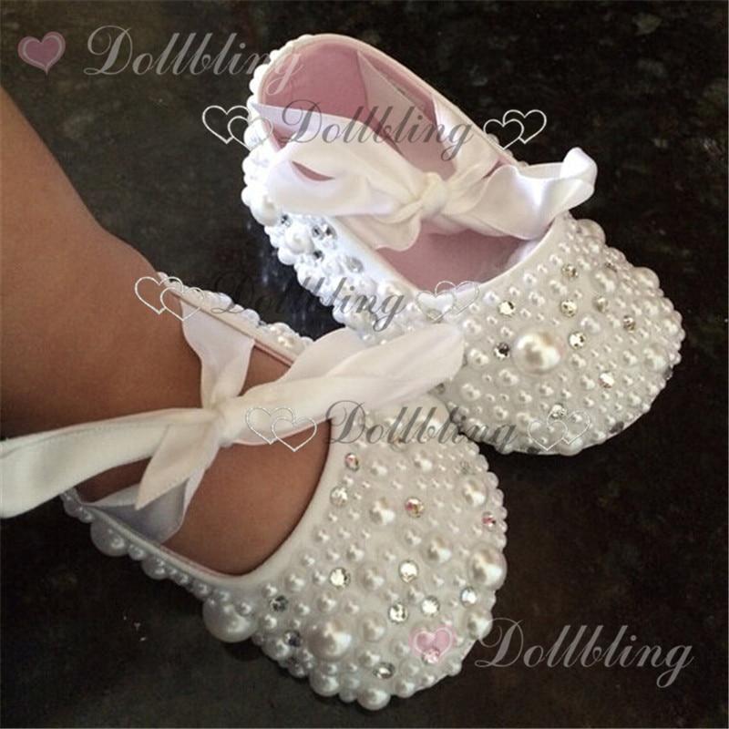 Christening pearls Rhinestones clear crystal baby shoes custom for buyer white ribbon match magic childhood keepsake