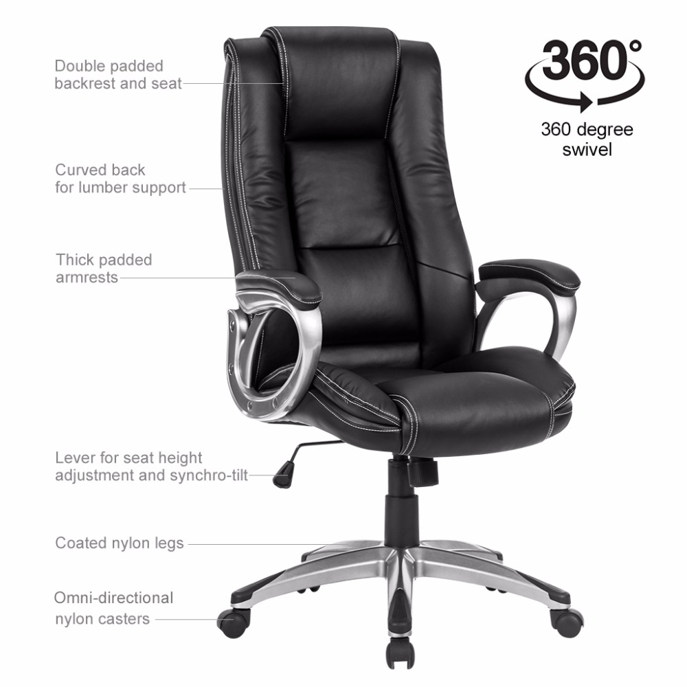Langria Modern Ergonomic High Back Leather Executive Office Chair