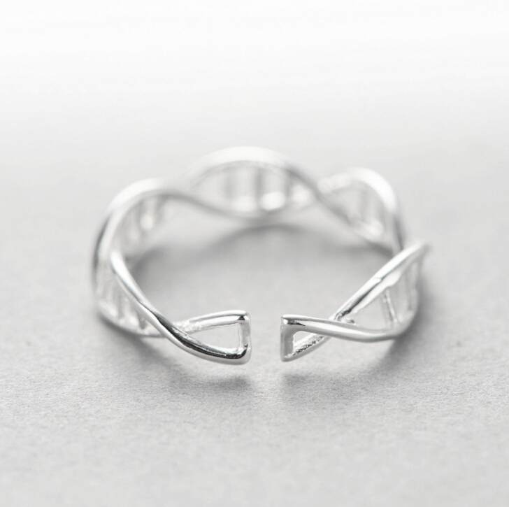 New Genuine 925 Sterling Silver Personality DNA Double Helix Structure Rings For Men Women Lovers Ring Men Jewelry Anillos R22