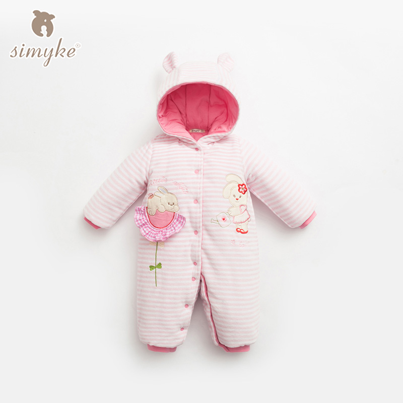 Simyke Winter Baby Rompers Clothes Long Sleeved Babys Boy Thick Warm Jumpsuit Infant Baby Girl Clothing For 0-24M Toddler W2001 2017 new baby rompers winter thick warm baby girl boy clothing long sleeve hooded jumpsuit kids newborn outwear for 1 3t