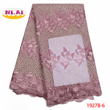 african lace fabric 2019 high quality french mesh beaded stones nigerian swiss fabrics for dress XY1927B-9