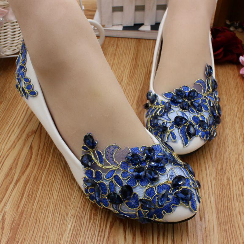 Bleu applique de fleur de lacet chaussures femme 3 cm faible talon HS070 customized med haute talons de mariée bleu applique de mariage chaussures femmes