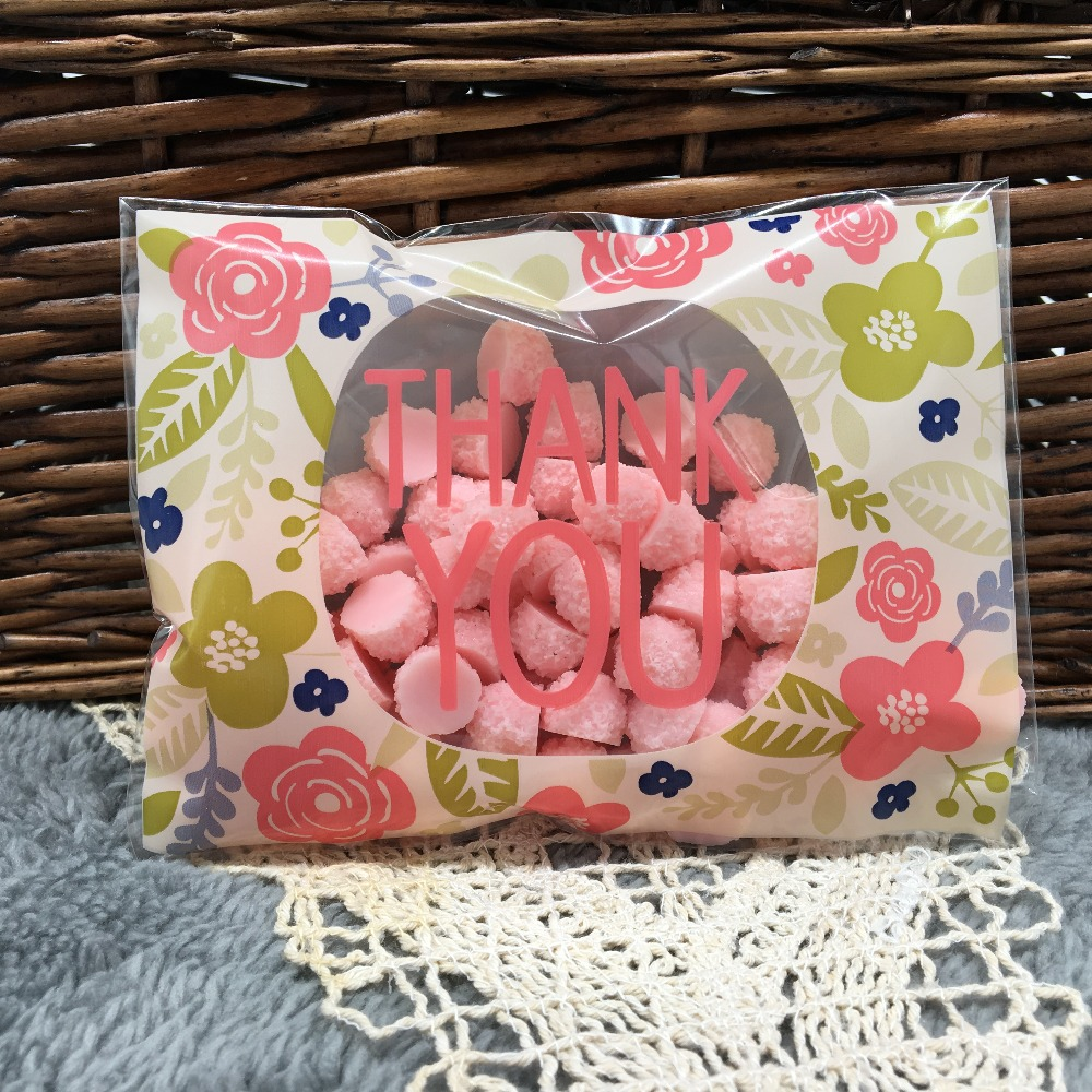 Plastic bag for you - 50 Pieces Lot 10 13cm Flower Thank You Self Adhesive Plastic Bags For