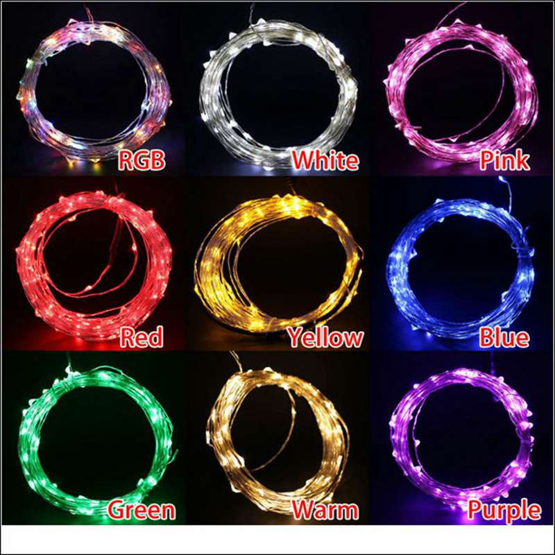 Contains Power 10~50M Waterproof DC12V Starry Outdoor Copper/Silver Wire Led String Light For Christmas Wedding Decoration