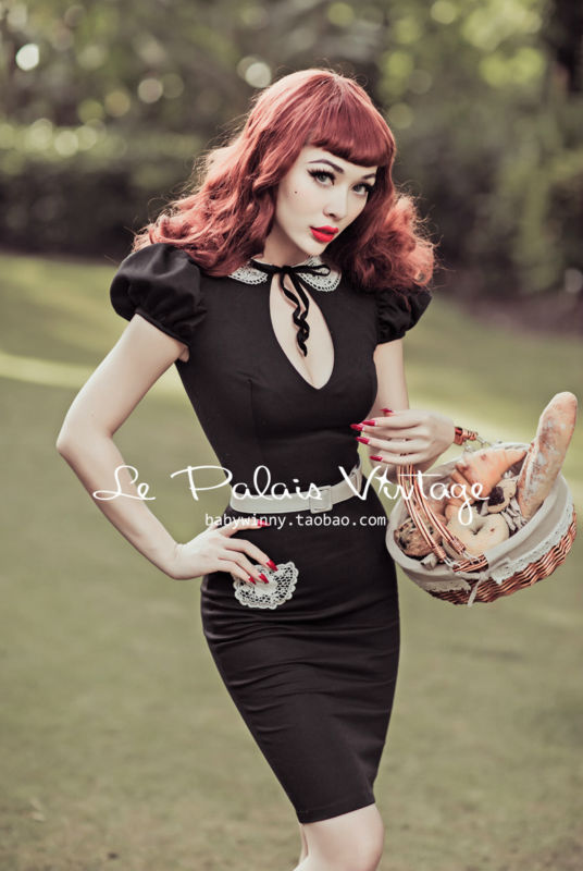 FREE SHIPPING Le Palais Vintage limited sexy low cut sexy slim hollow peter pan collar Babydoll