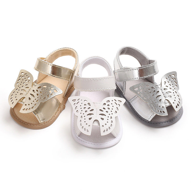 0-18 Months Newborn Baby Girl Shoes Soft Sole Crib Shoes Infant Toddler Summer Sandals Butterfly Gold Silver White 3Colors