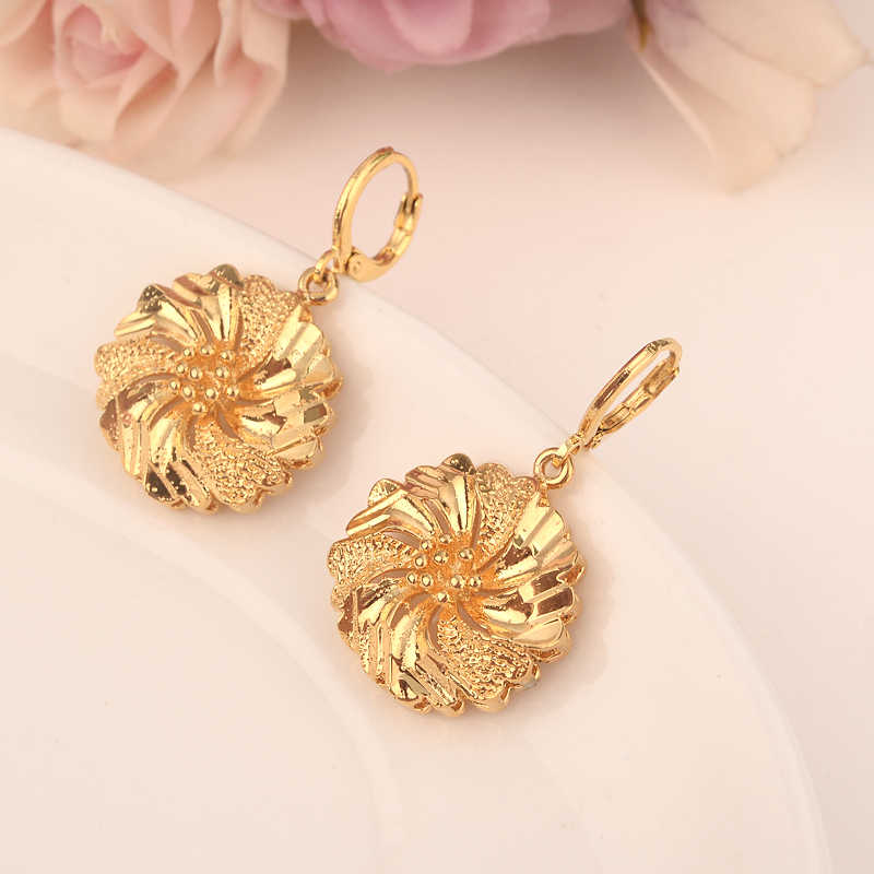 Pendientes de flores de oro etíope/Nigeria/Kenia/Ghana color dorado Dubai africano árabe Medio Oriente joyería mamá regalos
