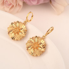 gold flowerdrop earring Ethiopian/Nigeria/Kenya /Ghana Gold color Dubai african Arab Middle Eastern Jewelry Mom Gifts(China)