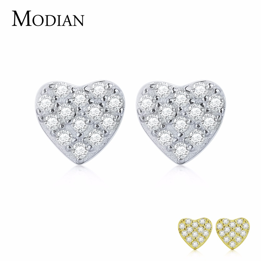 MODIAN 100% 925 Sterling Silver/Gold Sparkling Cute Lovely Heart Stud Earrings With Clear CZ Jewelry For Women Brincos 2012EAR