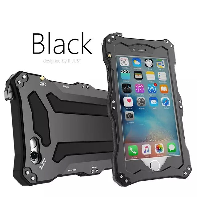 newest collection b752a 6c441 US $22.89 49% OFF R JUST Metal Armor Outdoor Shockproof Life Waterproof  Protection Phone Cases For iPhone 5 5S SE+Gorilla Glass Case-in Phone Pouch  ...