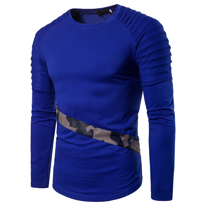 Mens tshirt autumn winter solid color sleeves fold design camouflage mesh stitching long sleeves clothing T shirts 3 colour