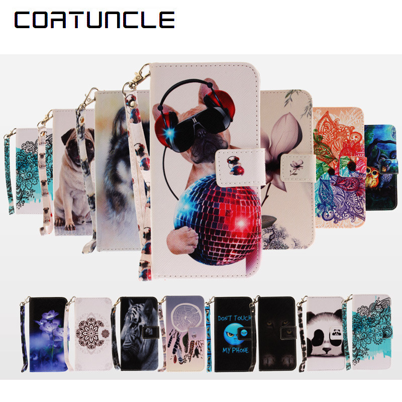 COATUNCLE Phone <font><b>Case</b></font> For Coque <font><b>Samsung</b></font> Galaxy <font><b>J5</b></font> <font><b>2017</b></font> <font><b>case</b></font> For <font><b>Samsung</b></font> J530 cover Dog owl, flower Wallet <font><b>Flip</b></font> Cover Leather <font><b>Case</b></font> image