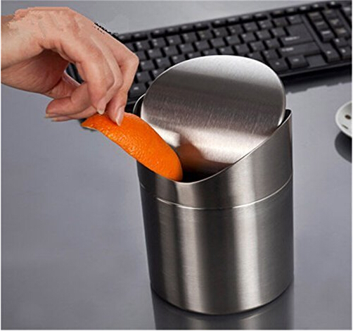 Mini Stainless Steel Wave Cover Countertop Small Trash Can