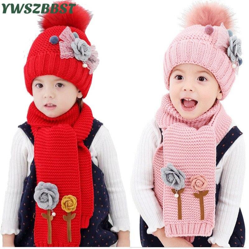 d1bdf8261d18a Winter Baby hat for Kids Pom Pom Hat Scarf set Baby Winter Crochet Earflap  Hat Girl Boy Knitted Beanie Fashion Hat for Children