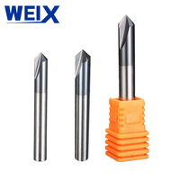90 WEIX 1pc 3 Flutes HRC45 Chamfer End Mill Angle 90 for steel Router Bit Tool Carbide Milling Cutters Mayitr Tungsten steel (4)