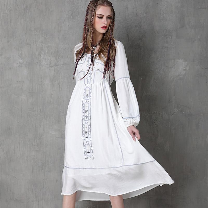 White boho maxi dress women autumn vintage